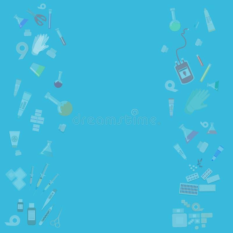 Abstracte achtergrond van het medische apparatuur de vlakke beeldverhaal voor Web en drukdecoratie royalty-vrije illustratie
