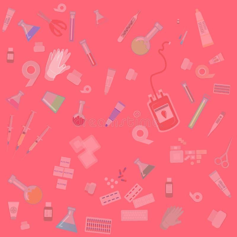 Abstracte achtergrond van het medische apparatuur de vlakke beeldverhaal voor Web en drukdecoratie stock illustratie