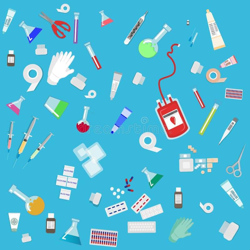 Abstracte achtergrond van het medische apparatuur de vlakke beeldverhaal voor Web en drukdecoratie vector illustratie