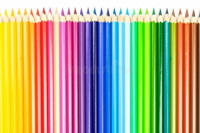 Abstracte achtergrond van kleurenpotloden Lijn van kleurpotloden royalty-vrije stock foto's