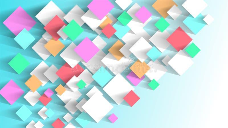 Abstracte achtergrond van kleverige document multicolored stickers Verzacht kalme tonen stock illustratie