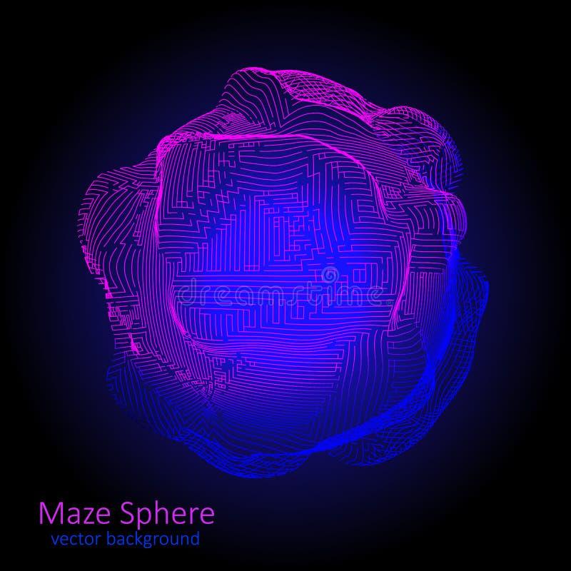 Abstracte achtergrond van lawaaigebied van lijnen Futuristische spheric stock illustratie