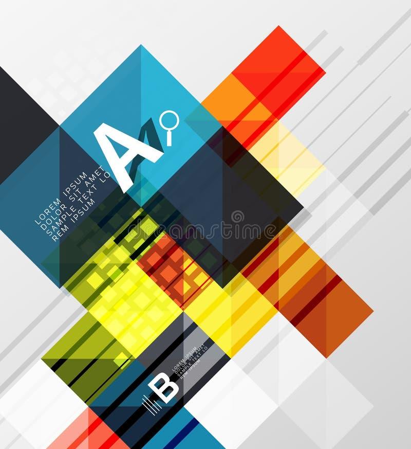 Abstracte achtergrond van Minimalistic de vierkante vormen royalty-vrije illustratie