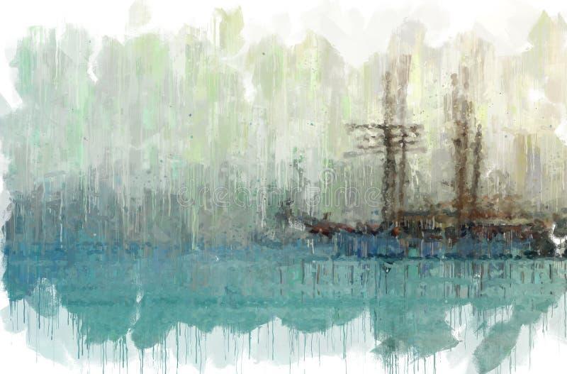 abstracte achtergrond van overzees met de stijlfoto van het bootolieverfschilderij royalty-vrije illustratie