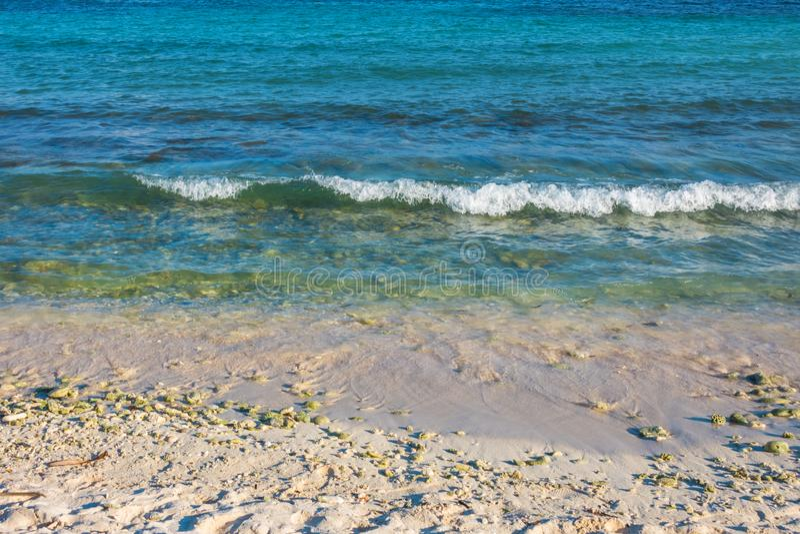 Abstracte achtergrond van turkooise blauwe oceaangolf op zandig strand royalty-vrije stock fotografie