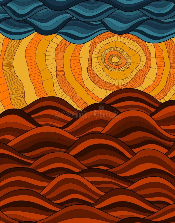 abstracte achtergrond Vectorbeeld, zon, wolken, sundy heuvels, golven Gouden zonsondergang vector illustratie