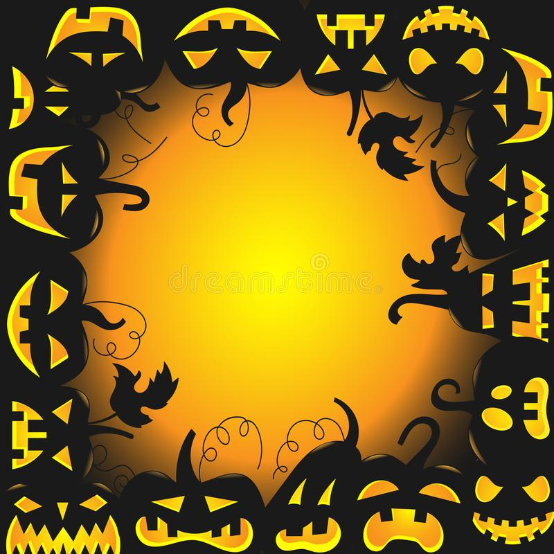 Abstracte achtergrond voor Halloween, de pompoen met verschillende gezichten in een cirkelruimte voor etiketten in het midden vector illustratie