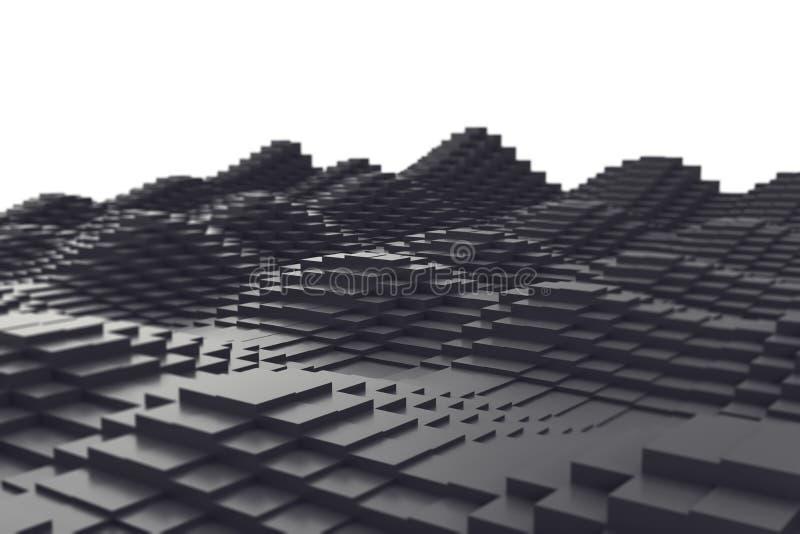 Abstracte achtergrond, zwarte metaalkubussen in de vorm van een golf 3D Illustratie royalty-vrije illustratie