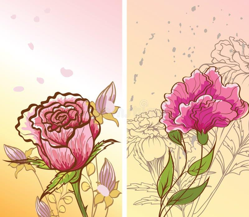 Abstracte achtergronden met decoratieve bloemen royalty-vrije illustratie
