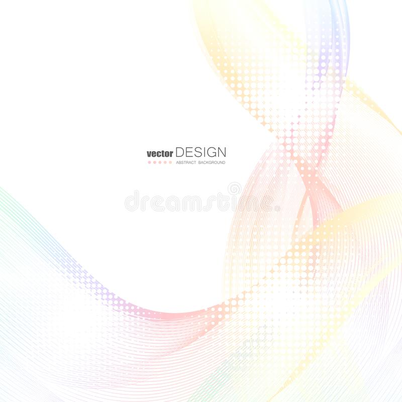 Abstracte achtergronden met kleurrijke golvende lijnen Elegant golfontwerp Vectortechnologie royalty-vrije illustratie