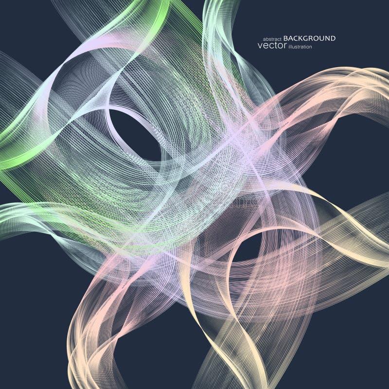 Abstracte achtergronden met kleurrijke golvende lijnen Elegant golfontwerp Vectortechnologie royalty-vrije stock afbeelding