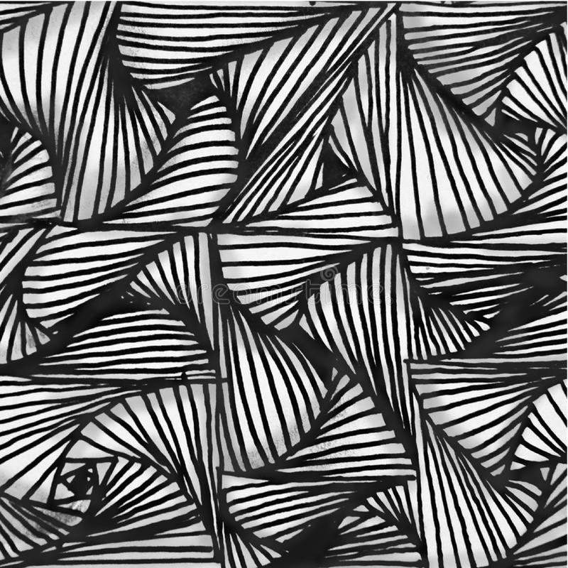 Abstracte achtergrondhand getrokken patroon zwart-witte vormen met 3D effect stock illustratie