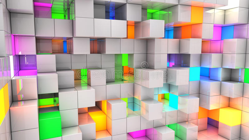 Download Abstracte Achtergrondkleuren Lichte Kubussen Stock Illustratie - Illustratie bestaande uit globaal, krat: 39105820