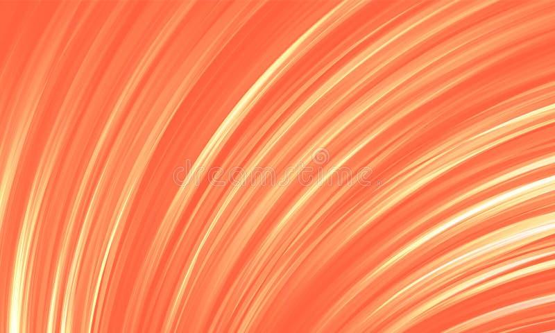 Abstracte achtergrondkoraalkleur Gloeiende lijnen van de vouwen stock illustratie