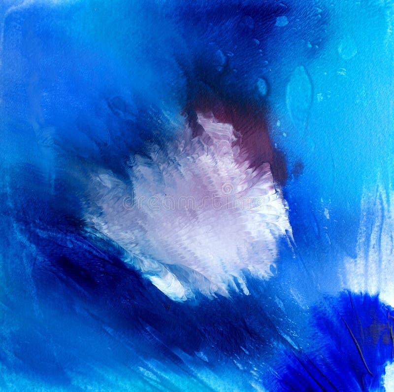 Abstracte acryl moderne eigentijdse witte vorm op blauw stock foto