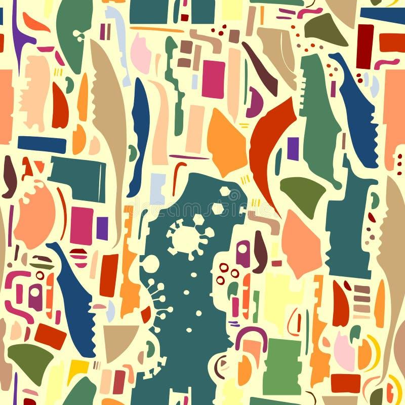 Abstracte af:drukken Kleurrijk naadloos patroon met verschillende elementen Trendy Achtergrond royalty-vrije illustratie