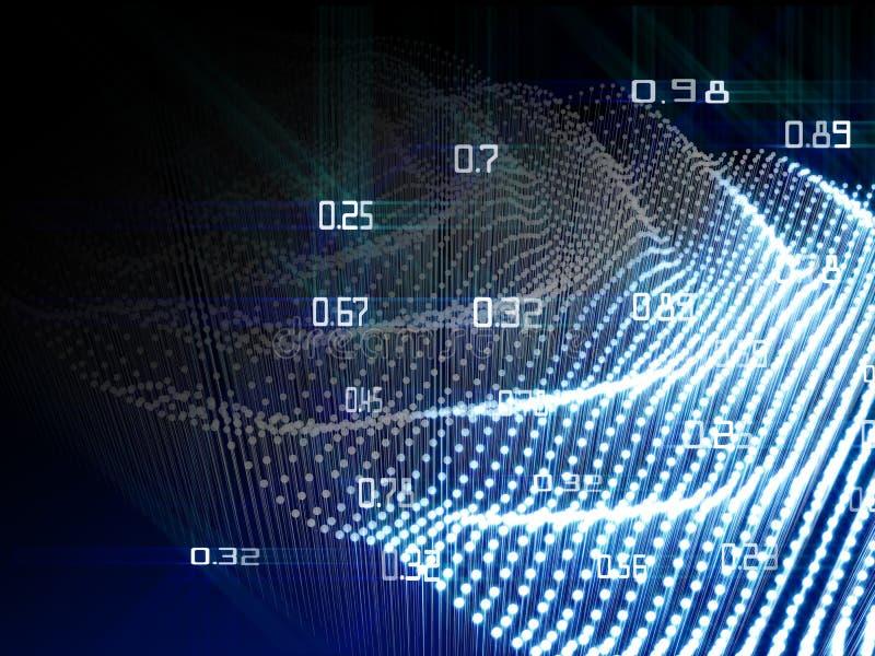 Abstracte analyse infographic met stroom van puntengloed op blauwe achtergrond Groot gegevensconcept royalty-vrije illustratie