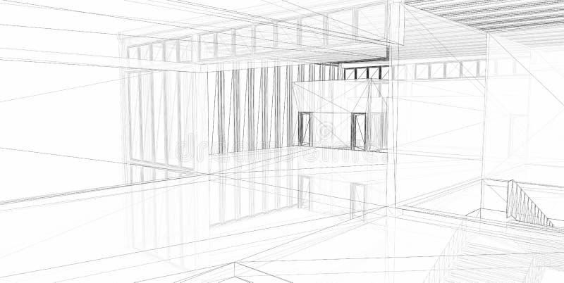 Abstracte architecturale 3D bouw. royalty-vrije illustratie