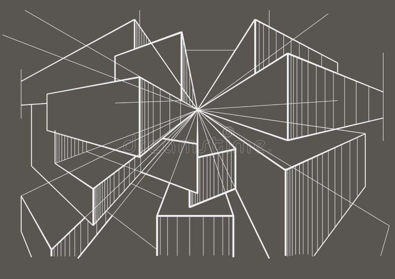 Abstracte architecturale schetsdozen op grijze achtergrond stock afbeeldingen