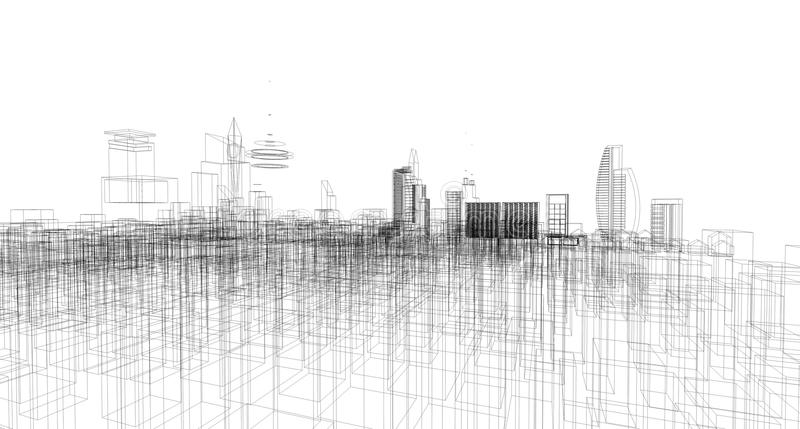 Abstracte architecturale tekeningsschets, Stad Scape royalty-vrije stock fotografie