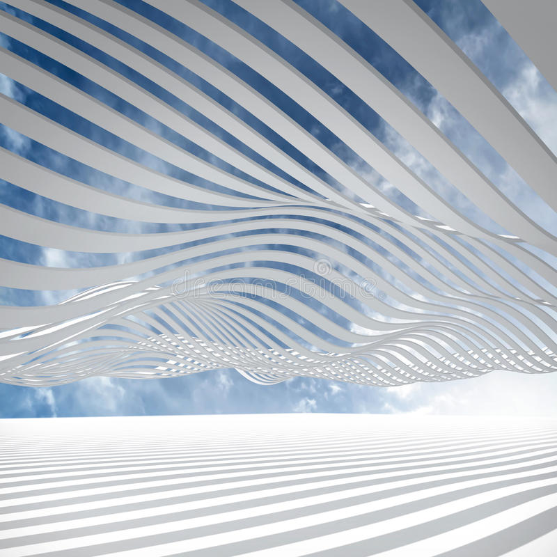 Abstracte architectuur 3d achtergrond royalty-vrije illustratie