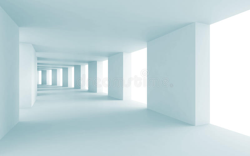 Abstracte architectuur 3d achtergrond, blauwe gang royalty-vrije illustratie