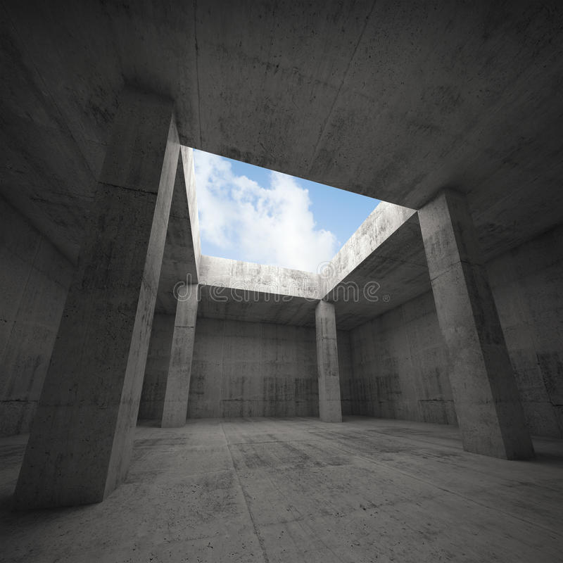 Abstracte architectuur, donker concreet ruimtebinnenland royalty-vrije illustratie