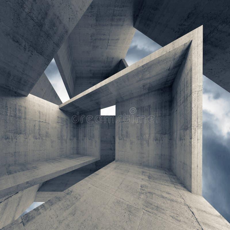 Abstracte architectuur, lege concrete binnenlandse 3d royalty-vrije illustratie