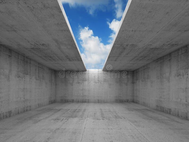 Abstracte architectuur, lege concrete ruimte met het openen stock illustratie