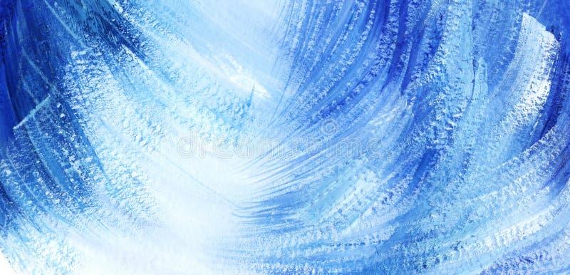 Abstracte artistieke achtergrond Blauwe en witte diagonale vlekken en slagen stock illustratie