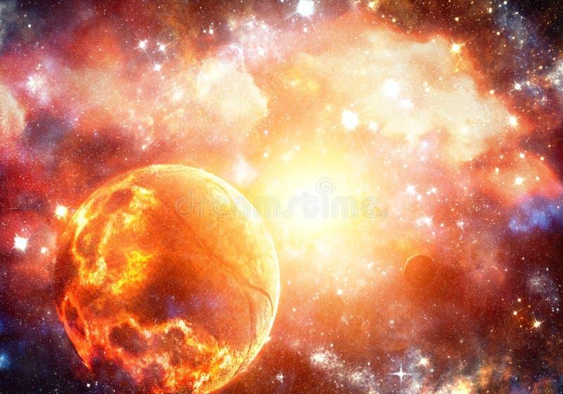 Abstracte artistieke gloeiende heldere vurige exploderende planeet op een supernovaachtergrond stock illustratie