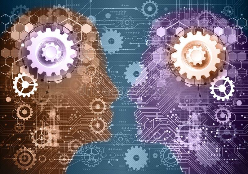 Abstracte Artistieke Kleurrijke Man en Vrouw die elkaar op een Moderne Technologische Kunstwerkachtergrond onder ogen zien stock illustratie
