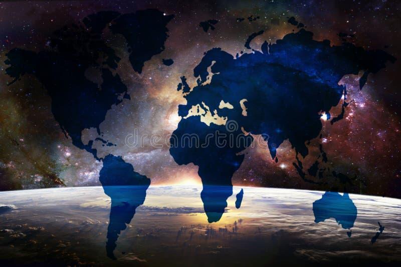 Abstracte Artistieke Wereldkaart op een Aardehorizon in Diepe Ruimtemelkwegachtergrond vector illustratie