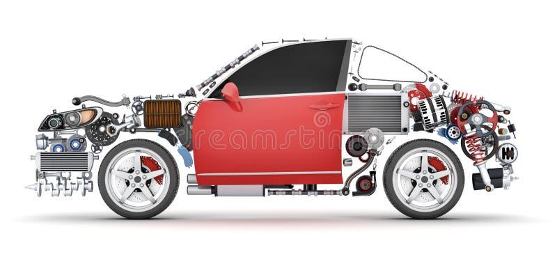 Abstracte auto en vele voertuigendelen vector illustratie