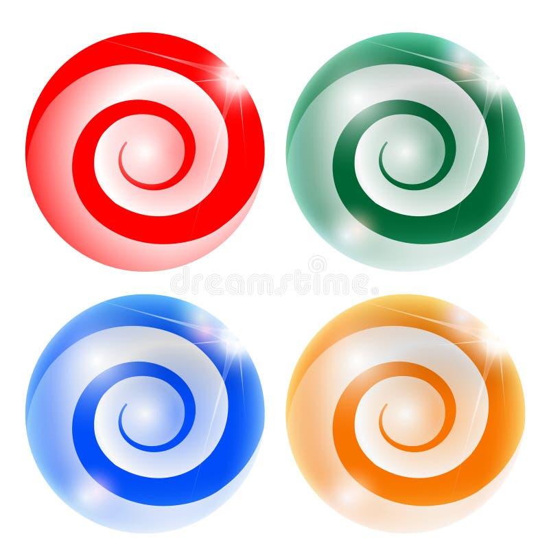 Abstracte bal vier met spiraal vector illustratie