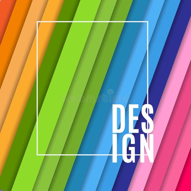 Abstracte banner met wit kader en tekstontwerp op heldere kleurrijke achtergrond van het geneigde diagonale element van het strep royalty-vrije illustratie