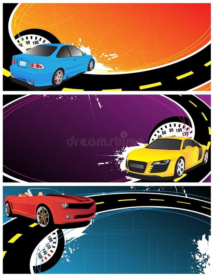 Abstracte banners met auto's royalty-vrije illustratie
