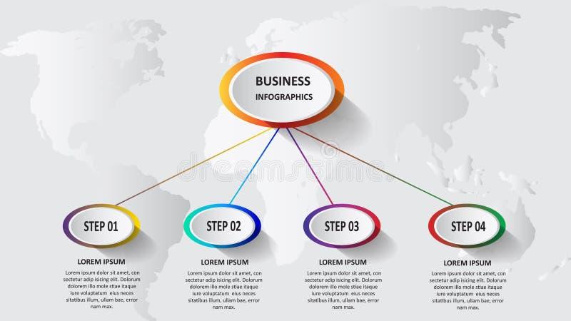 Abstracte bedrijfs 3d infographics in de vorm van gekleurde die ellipsen aan elkaar door lijnen en stappen worden verbonden Eps 1 stock illustratie