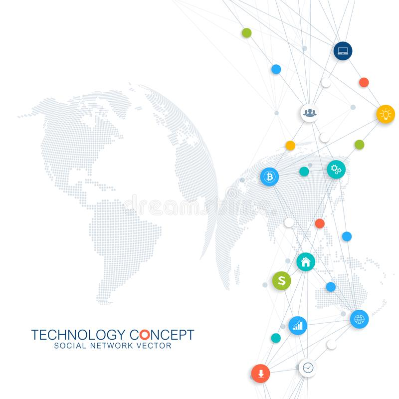 Abstracte bedrijfs infographic vector Wolk gegevensverwerking en het globale conceptontwerp van netwerkverbindingen Wetenschappel stock illustratie