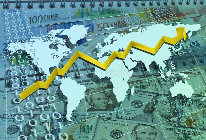 Abstracte bedrijfsachtergrond met kaart, pijl, dollars en de EU-mo vector illustratie