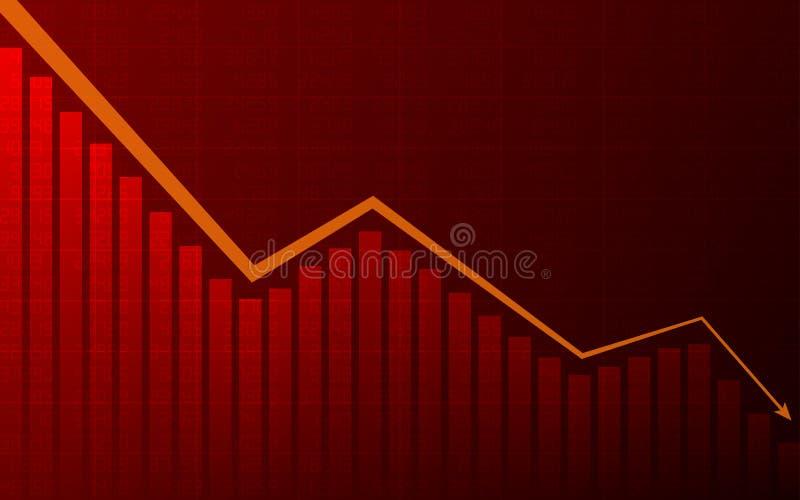 Abstracte Bedrijfsgrafiek met de lijngrafiek van de pijlneerwaartse trend, grafiek en voorraadaantallen in baissemarkt op rode kl royalty-vrije illustratie