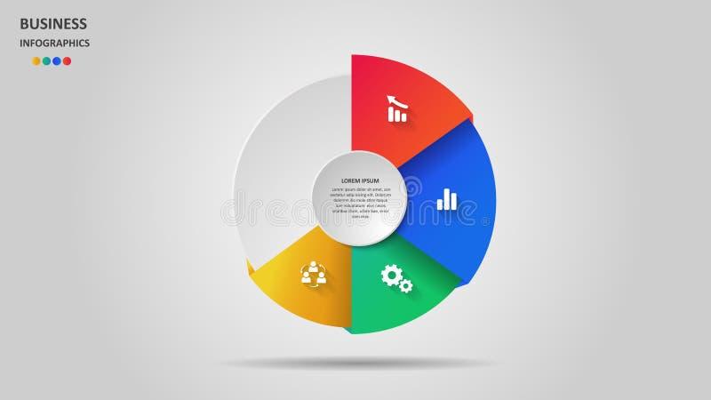 Abstracte bedrijfsinfographics in de vorm van gekleurde cijfers en stappen Eps 10 royalty-vrije illustratie