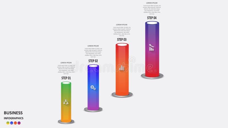 Abstracte bedrijfsinfographics in de vorm van gekleurde cilinders met bedrijfssegmenten, pictogrammen en tekst Eps 10 royalty-vrije illustratie