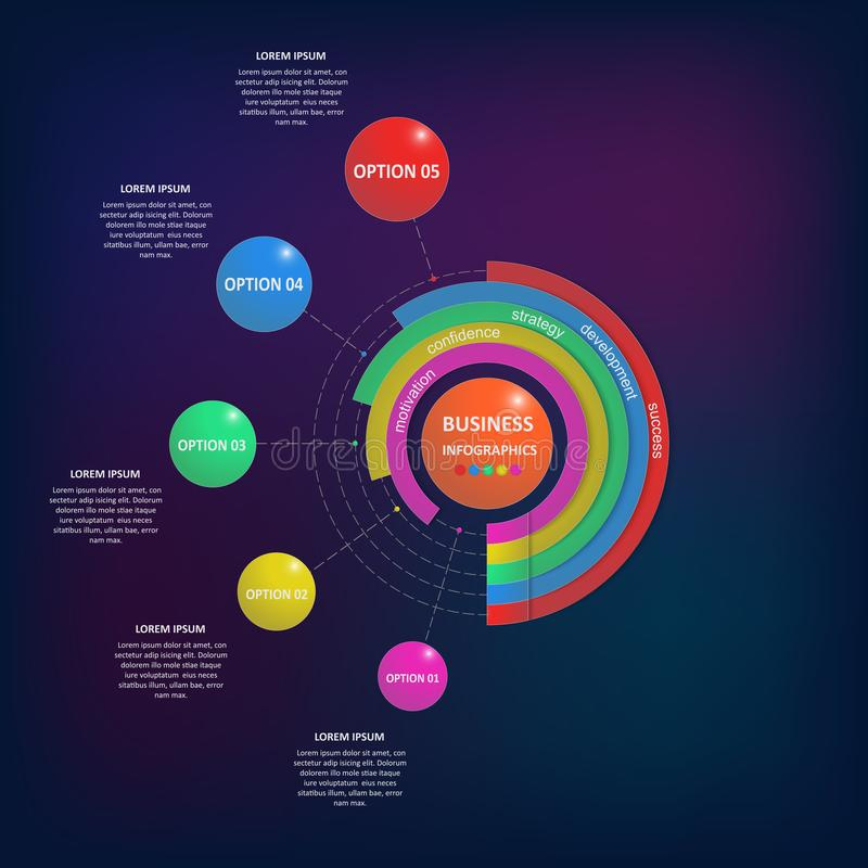Abstracte bedrijfsinfographics in de vorm van gekleurde die cijfers aan elkaar door lijnen en stappen worden verbonden Eps 10 stock illustratie