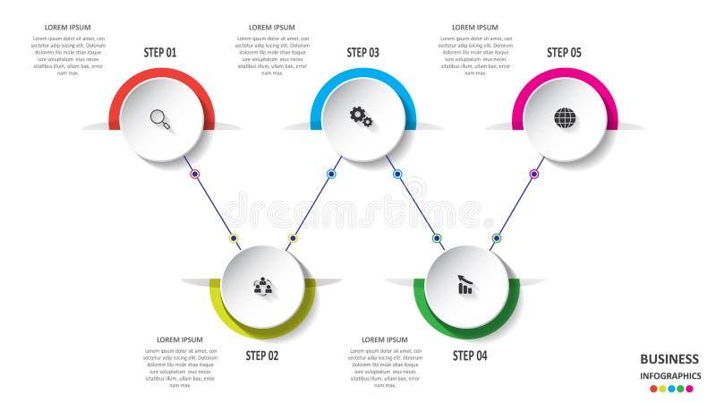 Abstracte bedrijfsinfographics in de vorm van gekleurde die vormen aan elkaar door lijnen en stappen worden verbonden Eps 10 vector illustratie
