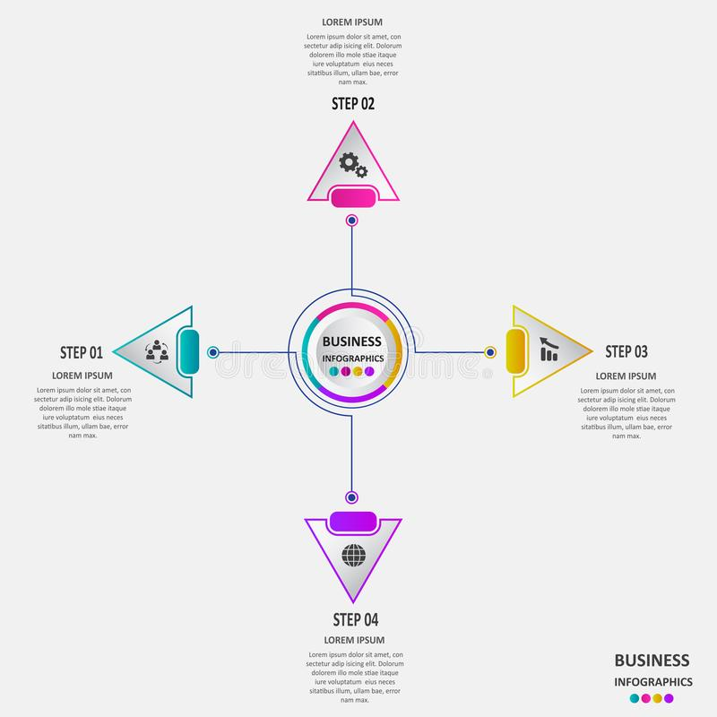 Abstracte bedrijfsinfographics in de vorm van gekleurde die vormen aan elkaar door lijnen en stappen worden verbonden Eps 10 royalty-vrije illustratie