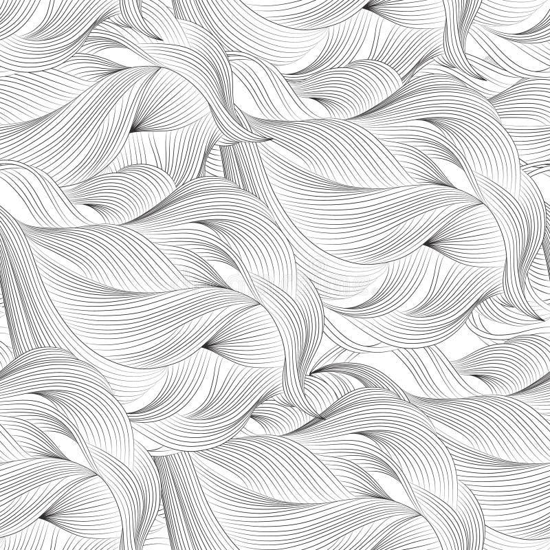 Abstracte beeldverhaal zwarte witte achtergrond, behang Overzeese van het krabbelpatroon golven, oceaan, rivier, wind Naadloze te royalty-vrije illustratie