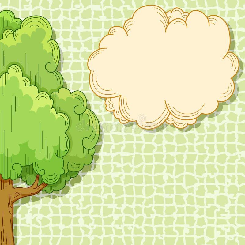 Abstracte beeldverhaalboom met wolk voor uw tekst stock illustratie