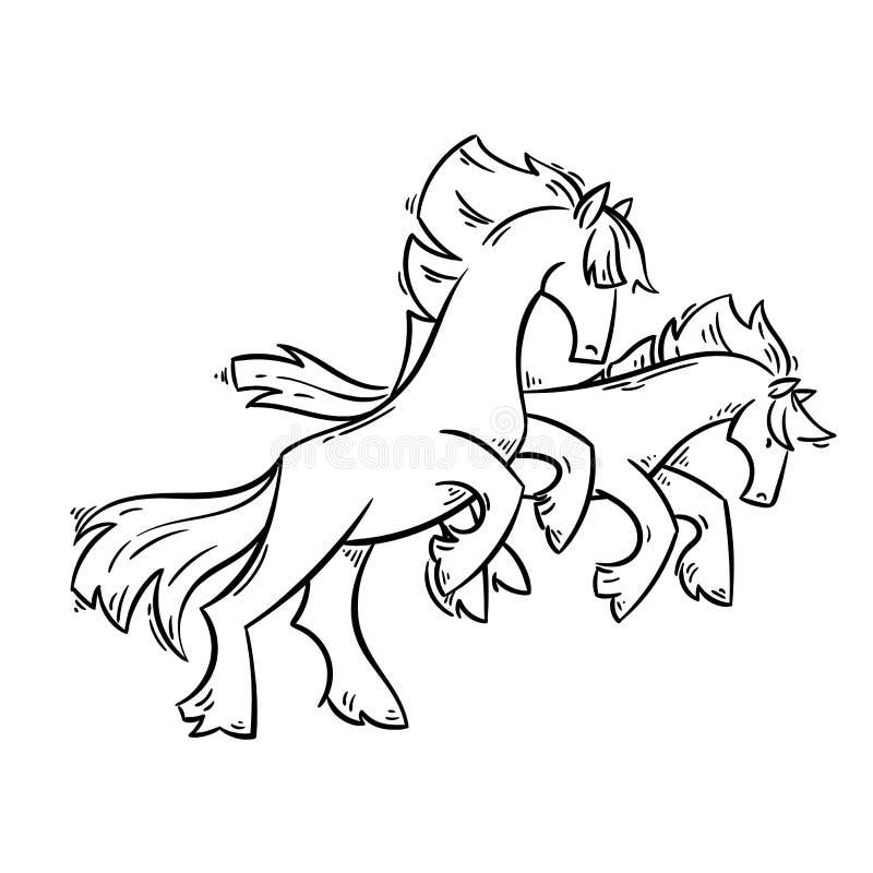 Abstracte beeldverhaalpaarden die zich op twee benen en galop bevinden stock illustratie