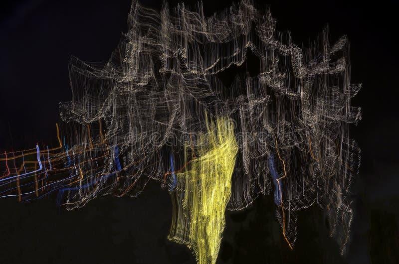 Abstracte bewegende stadslichten stock afbeeldingen